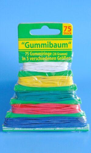 75 bunte Gummiringe Gummibänder 5 Größen, Farben sortiert Gummi Haushalt Gummis