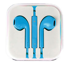 New Light Blue Colour Headphones Earphone Handsfree With Mic For iPhone Models