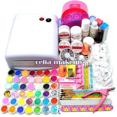 110V-220V Coscelia 36W UV Lamp Dryer Gel Polish Nail Art Tips Glitter Kit Sets