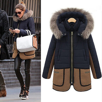 Fashion Women Slim Winter Thicken Fur Hooded Long Parka Overcoat Jacket Outwear