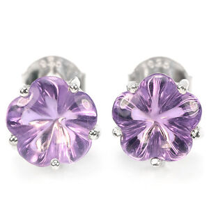 Image Is Loading Natural 8 Mm Aaa Purple Amethyst Flower Carving