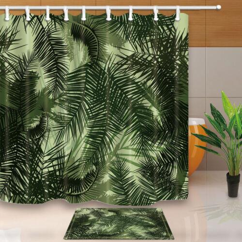 Palm leaves Bathroom Shower Curtain Waterproof Fabric w//12 Hook 180*180cm