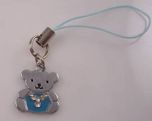 Teddy-Bear-cell-phone-charm-or-purse-charms-blue-silver-bling