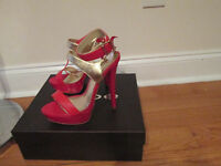 Bebe Terri Size 7 Red &gold Anckle Shoes
