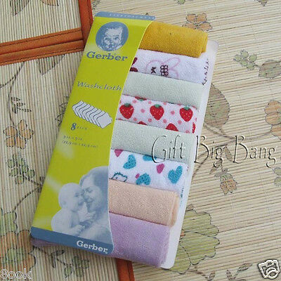 8 Pcs in 1 Set Baby Bath Towel Wash Soft Cloth Washcloth Flannel Wipe Pack Mixed