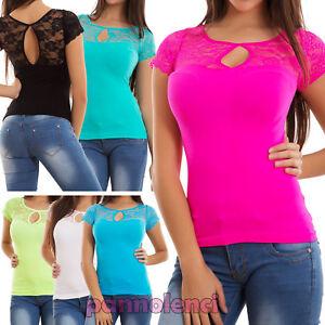 Maglia-donna-maglietta-pizzo-fluo-aderente-elastic-aperture-t-shirt-nuova-VM126