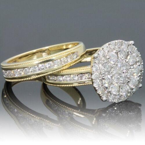 Women Wedding Ring Yellow Gold Plated White Sapphire Set Fashion Jewelry New