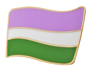 Genderqueer (GQ) Non-Binary Pride Wavy Flag Gold Plated Pin Badge