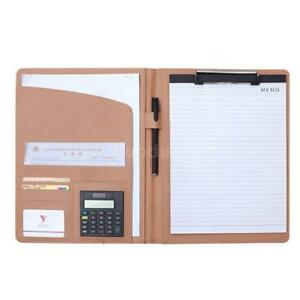 A4 Folder Leather Notebooks Office Writing Meeting Organiser w/ Calculator J2B4