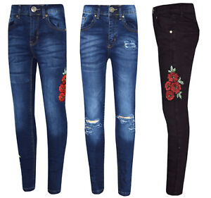 Girls-Kids-Childrens-Stretch-Denim-Jeans-Ripped-or-Embroidered-Flowers-Ages-5-13