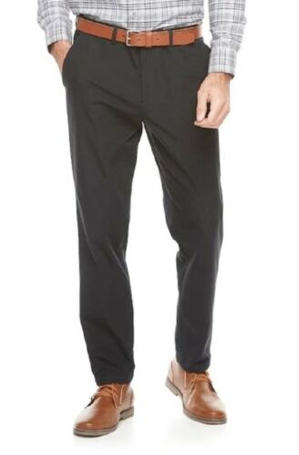 9 Modern Fit Performance Stretch Chino Black Flat Front Pants NEW Men/'s Apt
