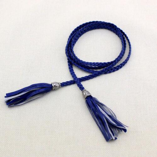 Fashion Women Knitted Long Leather String Waistband Braid Waist Belt with Tassel