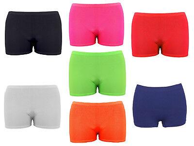 Girls Microfiber Hot Pants Shorts School Dance Gym Lycra Stretch Shorts Age 5-14