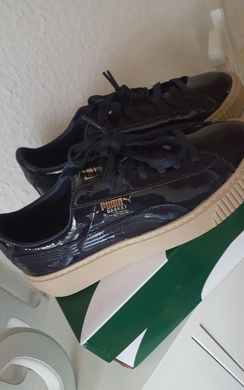 * Sneaker Puma Basket Platform brevetto WN 'S Donna Ragazza Sneaker * Scarpe Blu 37,5 NUOVO a222e2