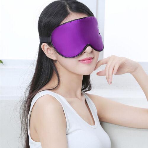Soft Silk Padded Blindfold Blackout Eye Mask Travel Rest Sleep Shade Cover UK