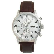 Hugo Boss 1512447 Mens Leather Strap Stainless Steel Chronograph Watch- used A