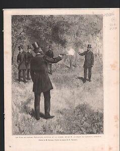 DUEL GÉNÉRAL BOULANGER ET BARON DE LAREINTY SÉNATEUR 1886 GRAVURE ANTIQUE PRINT - France - Authenticité: Original - France