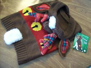 Time-for-Joy-Knitted-Santa-039-s-Reindeer-Dog-Hoodie-Size-Small