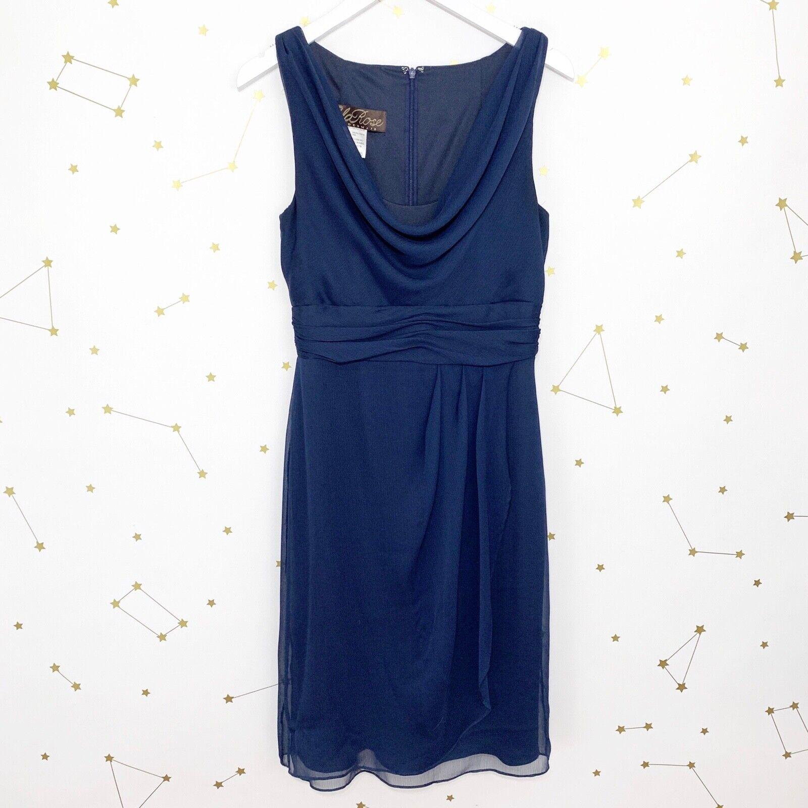 Lela Rose Bridesmaid Dress Size 4 Midnight Blue LR153 Sleeveless Chiffon Draped