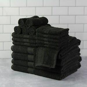 Cotton Bath Towels 18-Piece Towel Set Thick & Plush Hand Bath Towel Black NEW