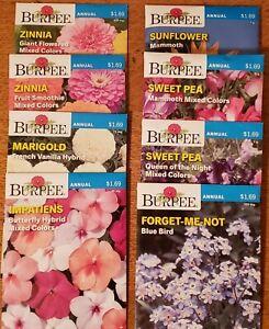 33 Burpee Packs Flower Seeds Annuals Perennials Sunflower pansy poppy dated 2020