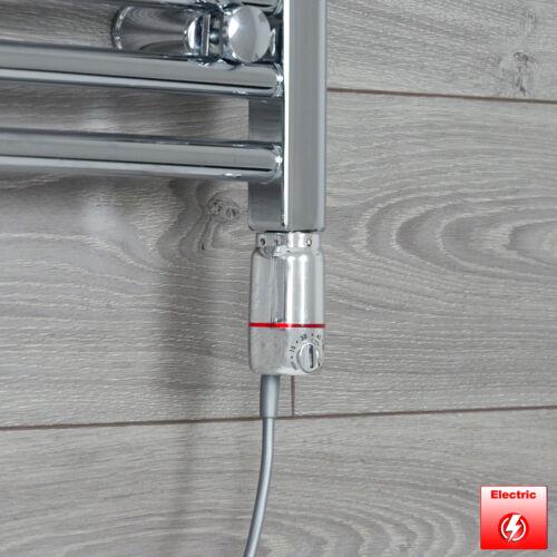 Chrome 600 x 250 mm Electric Heated Towel Rail Radiator Bathroom Pre-Filled HTR