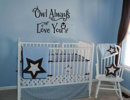 OWL ALWAYS LOVE YOU BABY VINYL WALL LETTERING WORDS BABY DECAL NURSERY STICKER