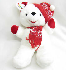 VTG EUC CHOSUN WHITE TEDDY BEAR KNIT SKI CAP/SCARF KOREA