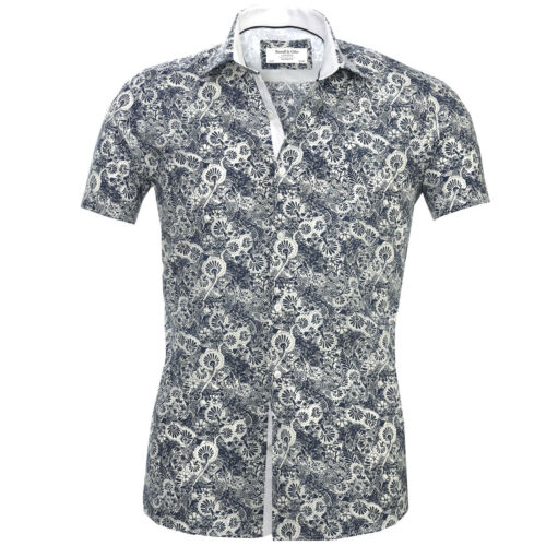 Russell /& Giles Men`s Short Sleeve Designer Floral Paisley Casual Shirts
