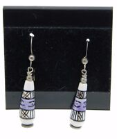 Sterling Silver Peruvian Hand Painted Purple White Black Dangle Earrings