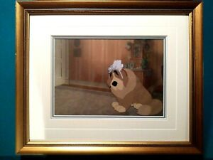 NANA-DOG-DISNEY-PETER-PAN-16FLD-PRODUCTION-CEL-ON-COPY-BG-VINTAGE-MINT-FRAMED