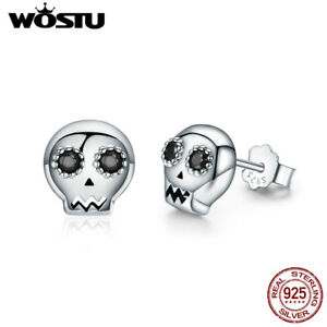 Wostu-Retro-S925-Sterling-Silver-Skeleton-Stud-Earrings-With-CZ-For-Beauty-Gift