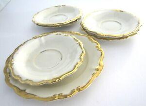 Rosenthal-Plate-Set-5-Saucer-1-Butter-Ivory-Gold-Edge-Pompadour-Selb-Germany