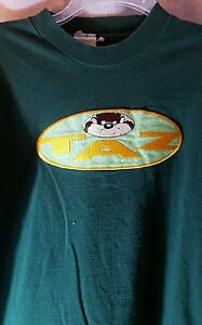 Warner-Bros-Taz-Tasmanian-Devil-Embroidered-T-Shirt-Sz-Large-Green-Cotton