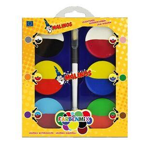 Malinos-FARBENMIX-Wasserfarben-Malkasten-mit-Doppelfarben-zum-Mischen-Pinsel