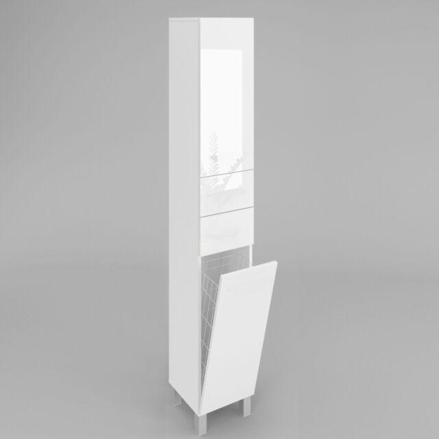 Badezimmerschrank mit Wäschekorb SW15 188x40 cm Weiß Hochglanz Matt soft  close