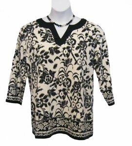 Floral Tunic Top Plus Size 0X 12W KNIT Shirt Charter Club Black Off-White Kurta