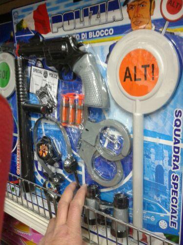 Set polizia paletta manette pistola kit gioco di qualità giocattolo toy
