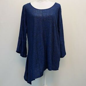 NY-Collection-Plus-Size-Womens-Top-Asymmetrical-Hem-3-4-Bell-Sleeve-Blue-1X-49