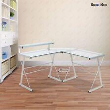 Clear L-Shape Computer Desk PC Glass Laptop Corner Table Workstation Home Office