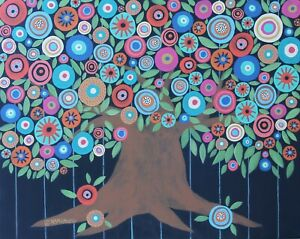 Blooming-Folk-Tree-16-x-20-ORIGINAL-CANVAS-PAINTING-flowers-ART-Karla-Gerard