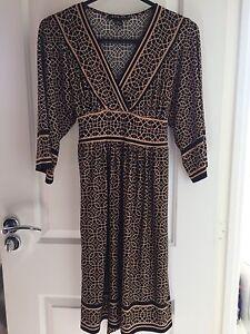 Women-039-s-Dress-Geometric-Kimono-Sleeves-Clothes-One-Size-Black-Beige