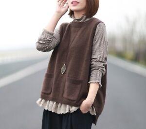 Détails sur Gilet pull laine Mori retro ancien tricot Shabby chic vintage grande taille