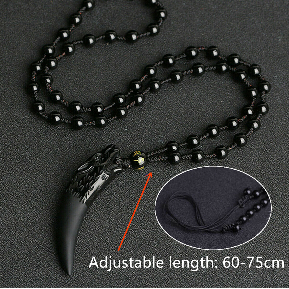 Autumn Jasper semi-precious gemstone wolf tooth pendant black cord necklace