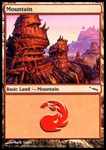 MTG 1x Mountain//Montagne-MIRRODIN Nº 299 FOIL Presque comme neuf *