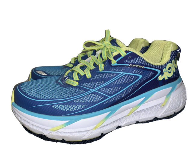Hoka One One Clifton 3 Women's Running Shoes SZ 8 EUR 40 Blue Yellow White.