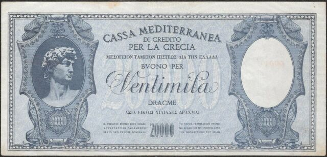 GREECE 20.000 DRACHMAI (1941) P:M9   VF