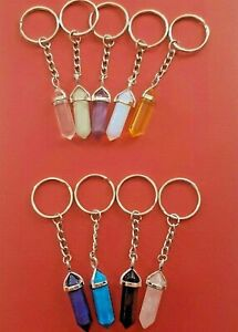 Crystal-point-keyring-keychain-healing-amethyst-turquoise-rose-quartz-key-chain