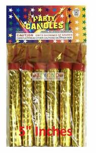 6ct-Birthday-Wedding-Bottle-5-034-Small-Party-Gold-Sparkling-Candles-Outdoor-only