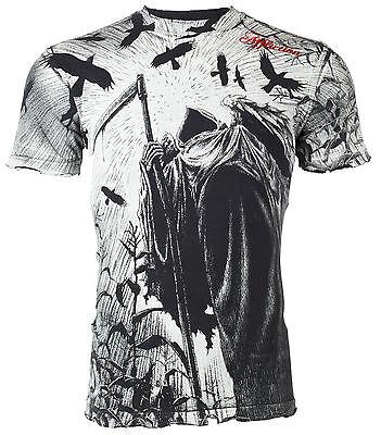 AFFLICTION Mens T-Shirt CORN REAPER Tattoo Fight Biker Gym MMA UFC Vtg S-4XL $50